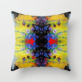 YELLOW GARDEN GOLD BLUE FLOWERS BLACK  PATTERN ART Throw Pillow