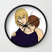 snk Wall Clocks featuring BOY IS A MONSTER by jean-huh-kirschnickerdoodle