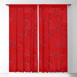 Embossed Red Floral Blackout Curtain