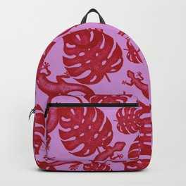 Tropical exotic monstera leaves and lizards distressed lovely moody red and heather mauve purple design. Gift ideas for nature, animal and plant lovers. Botanical pattern. Backpack