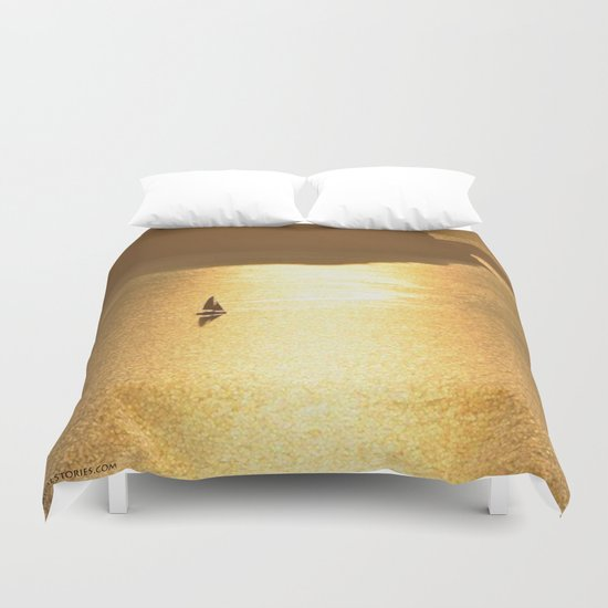 Golden Sailing on a Glittering Sea Duvet Cover