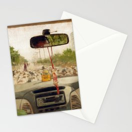 Driving in Car on Road Blocked by Flock of Sheep Urban Cityscape in India Travel Stationery Cards