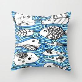Fishy Friends Throw Pillow