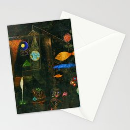 'Fish Magic No. 2' Aquatic, Celestial, Floral, Earthly Entities Portrait by Paul Klee Stationery Cards