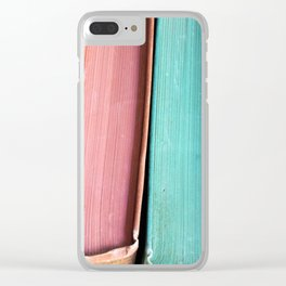 Colorful Vintage Book Spines Clear iPhone Case