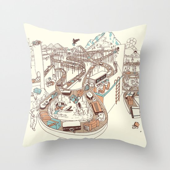Secret Lives of Luggage Throw Pillow
