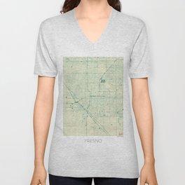 Fresno Map Blue Vintage Unisex V-Neck