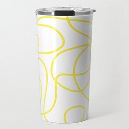 Doodle Line Art | Bright Yellow Lines on White Background Travel Mug