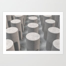 Concrete with cylinders Art Print