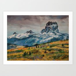 #6-Mountains and spring flowers outside of Glacier Art Print