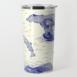 Grizzly Bears Fishing for Salmon (Beige and Blue) Travel Mug