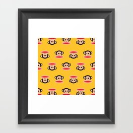 Julius Monkey Pattern by Paul Frank - Yellow Framed Art Print
