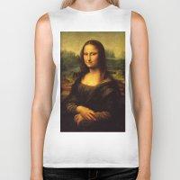 mona lisa Biker Tanks featuring Mona Lisa by steinhauer studio