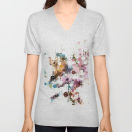 Decorative Subdued Pastel Pattern Abstract Unisex V-Neck