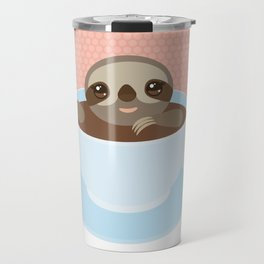 Sloth in a blue cup coffee, tea, Three-toed slot Travel Mug