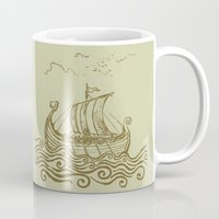 rowing Mugs featuring Viking ship by mangulica
