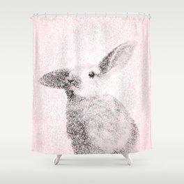 Bunny Print - Mosaic Nursery Decor, Baby Animal Wall Art Poster Shower Curtain