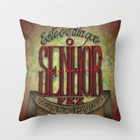 lettering Throw Pillows featuring Lettering by MarcosDevelop