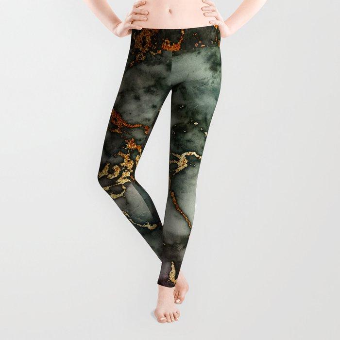 Gray Green Marble Glitter Gold Metallic Foil Style Leggings