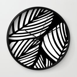 Artistic Black And White Overlapping Leaves Abstract Wall Clock