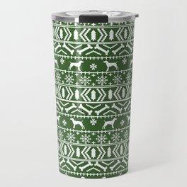 German Shorthair Pointer fair isle christmas holidays dog breed pattern green and white Travel Mug