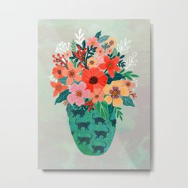 Jar with flowers, cute floral bouquet Metal Print