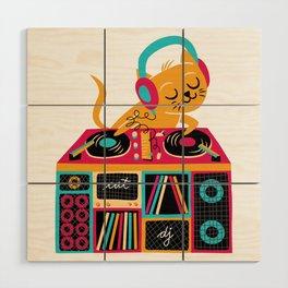 Cat DJ Wood Wall Art