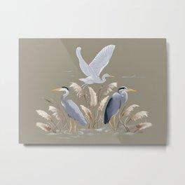 Great Blue Heron - Tan and Gray Metal Print