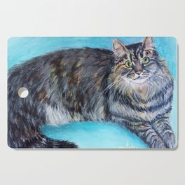 Munchkin tabby cat portrait Cutting Board