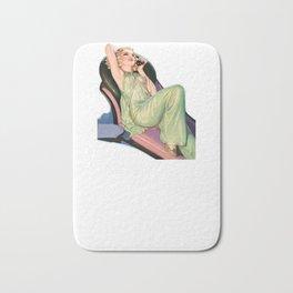 Nostalgic Pin Up Girls Blond Hair Green Pantsuit Talking on the Phone Bachelor Party Pinup Girl Bath Mat