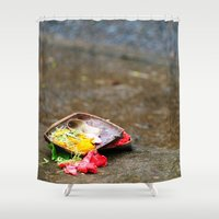 hindu Shower Curtains featuring Bali - Hindu Prayer Offering by gdesai