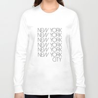 new york city Long Sleeve T-shirts featuring New York New York City by Stylish in Sequins