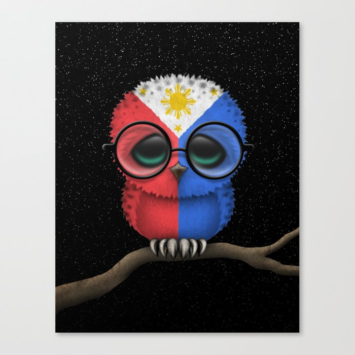 Baby Owl with Glasses and Filipino Flag Canvas Print