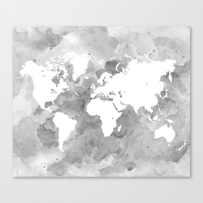 Design 49 grayscale world map canvas print by artbylucie society6 design 49 grayscale world map canvas print gumiabroncs Image collections