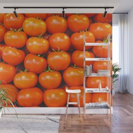 Cute tomato vintage background - organic tomatoes close up view Wall Mural