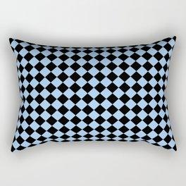 Black and Baby Blue Diamonds Rectangular Pillow