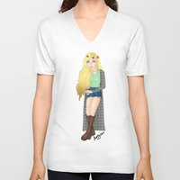tumblr V-neck T-shirts featuring Tumblr Girl by Creative_little_artist
