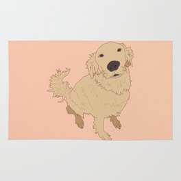 Golden Retriever Love Dog Illustrated Print Rug