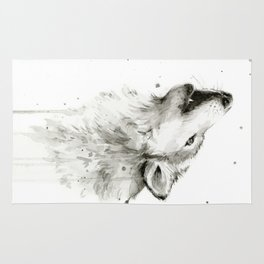 Wolf Howling Watercolor Animals Wildlife Painting Animal Portrait Rug