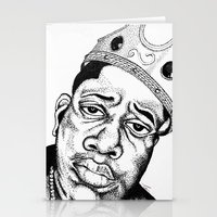 biggie smalls Stationery Cards featuring Biggie Smalls Stippling by Tom Brodie-Browne