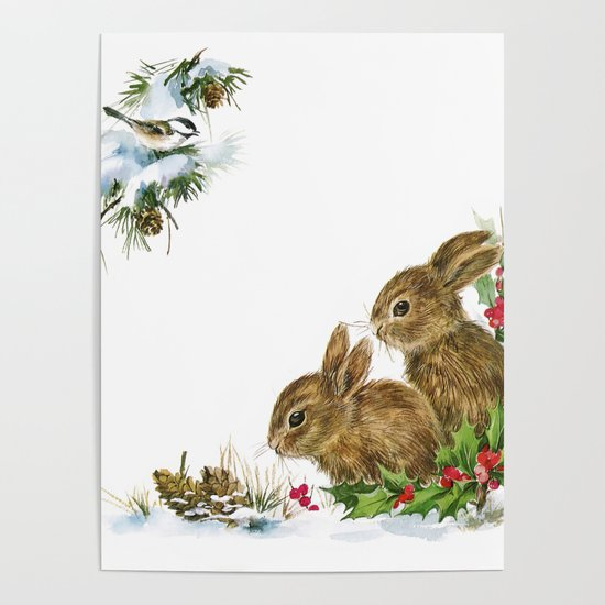 Winter in the forest - Animal Bunny Illustration by vintage_love