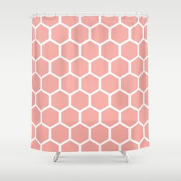 Coral Hexagons Shower Curtain