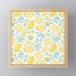 Lemon pattern White Framed Mini Art Print