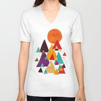 mountains V-neck T-shirts featuring Let's visit the mountains by Picomodi