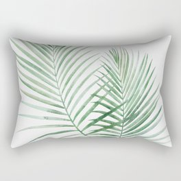Twin Tropical Palm Fronds - Emerald Green Rectangular Pillow