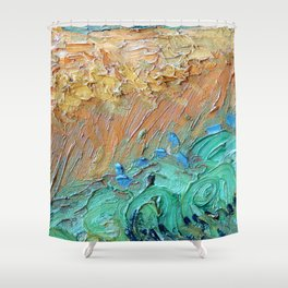 Wheat Field with Cypresses Brush Detail by Vincent van Gogh Shower Curtain