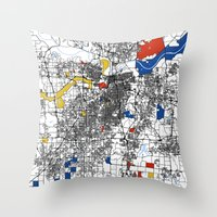 kansas city Throw Pillows featuring Kansas city mondrian map by Mondrian Maps