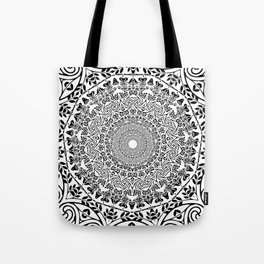 DEEP BLACK AND WHITE MANDALA Tote Bag
