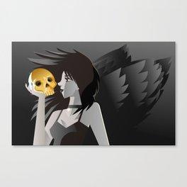 dark gothic death girl winged angel holding a golden skull Canvas Print