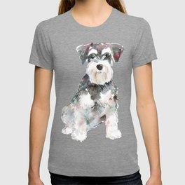 Miniature Schnauzer dog watercolors illustration T-shirt